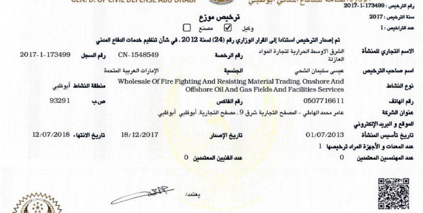 BOVIA 271 & 279 - Abu Dhabi Civil Defense Approval - LUCO LLC